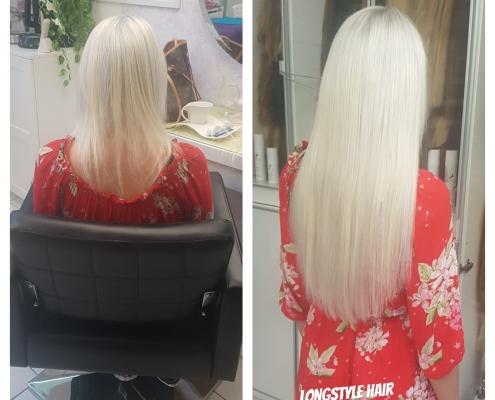 Haarverlängerung mit slawischen Echthaar.